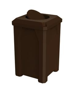 32 Gallon Brown Square Trash Receptacle, Bug Barrier Lid