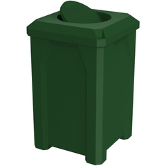 32 Gallon Green Square Trash Receptacle, Bug Barrier Lid