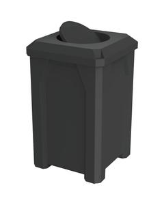 32 Gallon Black Square Trash Receptacle, Bug Barrier Lid