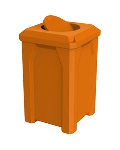 32 Gallon Orange Square Trash Receptacle, Bug Barrier Lid