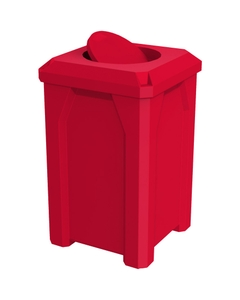 32 Gallon Red Square Trash Receptacle, Bug Barrier Lid