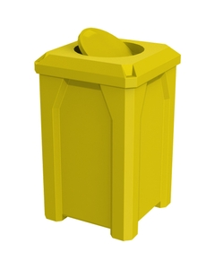 32 Gallon Yellow Square Trash Receptacle, Bug Barrier Lid