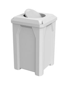 32 Gallon White Square Trash Receptacle, Bug Barrier Lid
