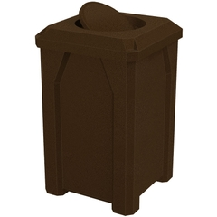 32 Gallon Brown Granite Square Trash Receptacle, Bug Barrier Lid