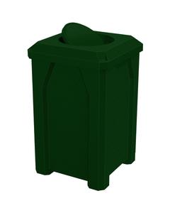32 Gallon Green Granite Square Trash Receptacle, Bug Barrier Lid