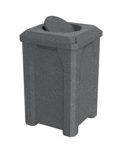 32 Gallon Dark Granite Square Trash Receptacle, Bug Barrier Lid