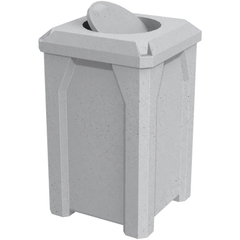 32 Gallon Light Granite Square Trash Receptacle, Bug Barrier Lid