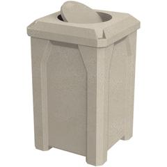 32 Gallon Beige Granite Square Trash Receptacle, Bug Barrier Lid
