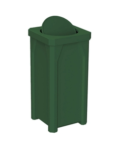 22 Gallon Green Square Trash Receptacle, Bug Barrier Lid