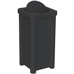 22 Gallon Black Square Trash Receptacle, Bug Barrier Lid