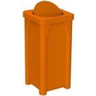 22 Gallon Orange Square Trash Receptacle, Bug Barrier Lid