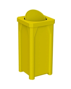 22 Gallon Yellow Square Trash Receptacle, Bug Barrier Lid
