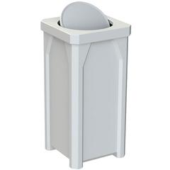 22 Gallon White Square Trash Receptacle, Bug Barrier Lid