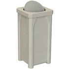 22 Gallon Beige Granite Square Trash Receptacle, Bug Barrier Lid