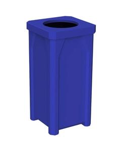 "22 Gallon Blue Square Trash Receptacle, 11.5"""