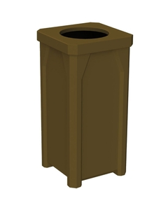 """22 Gallon Brown Square Trash Receptacle, 11.5"""" Opening"""