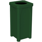 """22 Gallon Green Square Trash Receptacle, 11.5"""" Opening"""