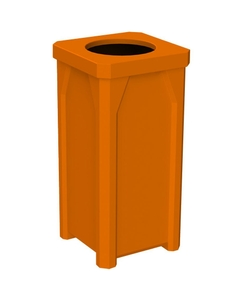 "22 Gallon Orange Square Trash Receptacle, 11.5"" Opening"