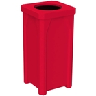 """22 Gallon Red Square Trash Receptacle, 11.5"""" Opening"""
