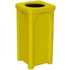 """22 Gallon Yellow Square Trash Receptacle, 11.5"""" Opening"""