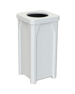 """22 Gallon White Square Trash Receptacle, 11.5"""" Opening"""