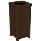 "22 Gallon Brown Granite Square Trash Receptacle, 11.5"" Opening"