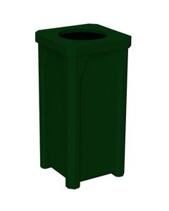 "22 Gallon Green Granite Square Trash Receptacle, 11.5"" Opening"