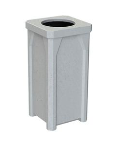 "22 Gallon Light Granite Square Trash Receptacle, 11.5"" Opening"