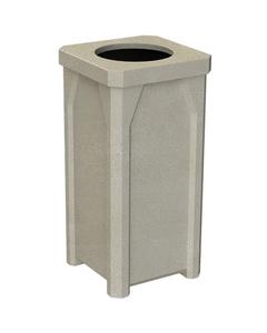 "22 Gallon Beige Granite Square Trash Receptacle, 11.5"" Opening"