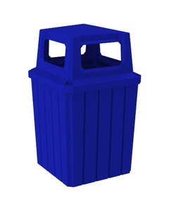 52 Gallon Blue Square Slatted Trash Receptacle, 4-Way Open Lid