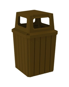 52 Gallon Brown Square Slatted Trash Receptacle, 4-Way Open Lid