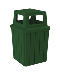 52 Gallon Green Square Slatted Trash Receptacle, 4-Way Open Lid