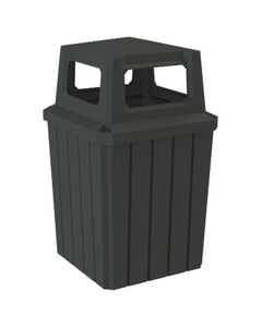 52 Gallon Black Square Slatted Trash Receptacle, 4-Way Open Lid