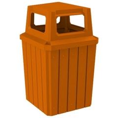 52 Gallon Orange Square Slatted Trash Receptacle, 4-Way Open Lid