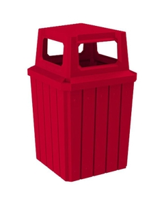 52 Gallon Red Square Slatted Trash Receptacle, 4-Way Open Lid