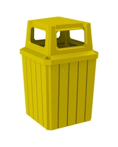 52 Gallon Yellow Square Slatted Trash Receptacle, 4-Way Open Lid