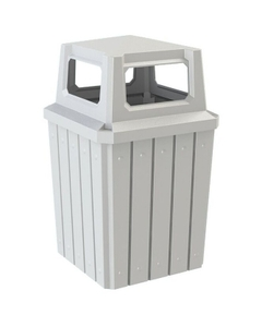 52 Gallon White Square Slatted Trash Receptacle, 4-Way Open Lid
