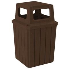 52 Gallon Brown Granite Square Slatted Trash Receptacle, 4-Way Open Lid
