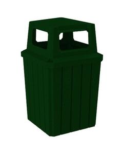 52 Gallon Green Granite Square Slatted Trash Receptacle, 4-Way Open Lid