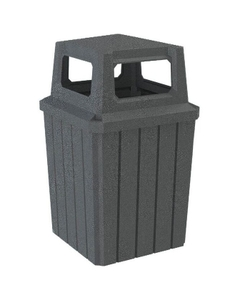 52 Gallon Dark Granite Square Slatted Trash Receptacle, 4-Way Open Lid