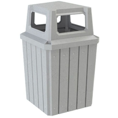 52 Gallon Light Granite Square Slatted Trash Receptacle, 4-Way Open Lid
