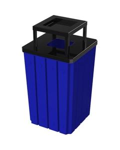 32 Gallon Blue Slatted Square Trash Receptacle, Steel Ashtop Lid
