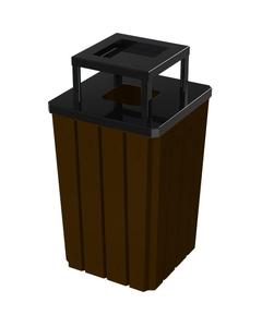 32 Gallon Brown Slatted Square Trash Receptacle, Steel Ashtop Lid