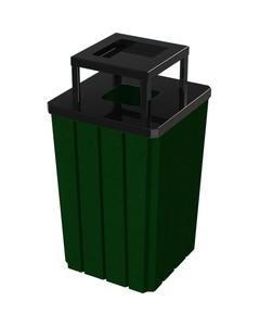 32 Gallon Green Slatted Square Trash Receptacle, Steel Ashtop Lid