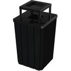 32 Gallon Black Slatted Square Trash Receptacle, Steel Ashtop Lid