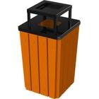 32 Gallon Orange Slatted Square Trash Receptacle, Steel Ashtop Lid