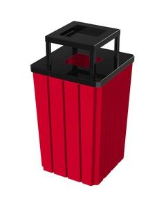 32 Gallon Red Slatted Square Trash Receptacle, Steel Ashtop Lid
