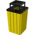32 Gallon Yellow Slatted Square Trash Receptacle, Steel Ashtop Lid