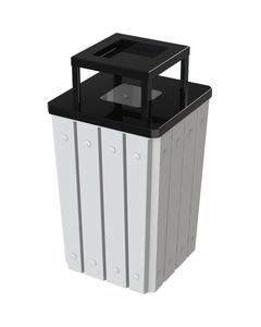 32 Gallon White Slatted Square Trash Receptacle, Steel Ashtop Lid