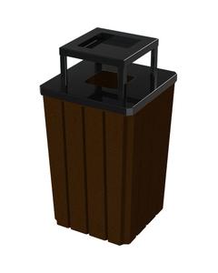 32 Gallon Brown Granite Slatted Square Trash Receptacle, Steel Ashtop Lid